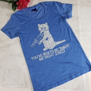 Raygun Blue Cat Kitten Fitted Tee Small